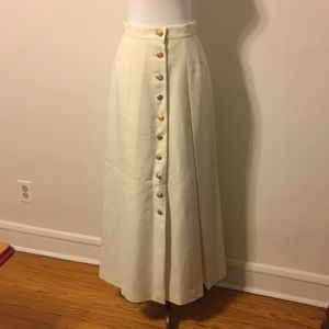 Vintage 90s Cream Pleated Maxi with Gold Buttons